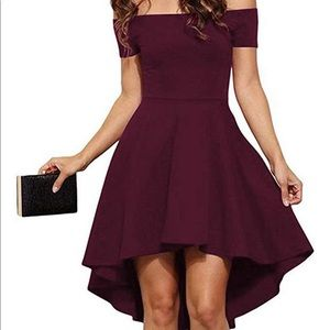 Off the shoulder maroon cocktail dress